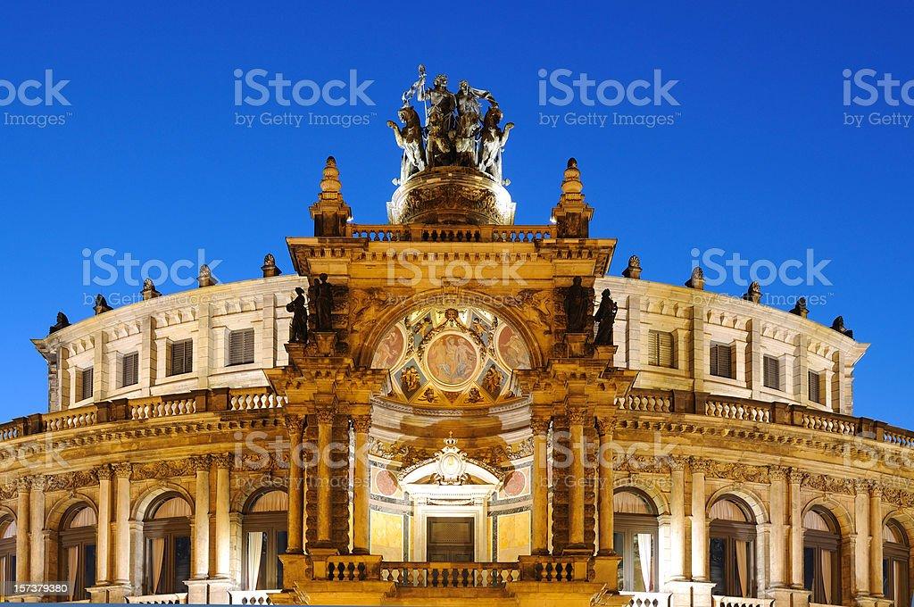 Dresden Semperoper Opera House Blue Hour royalty-free stock photo