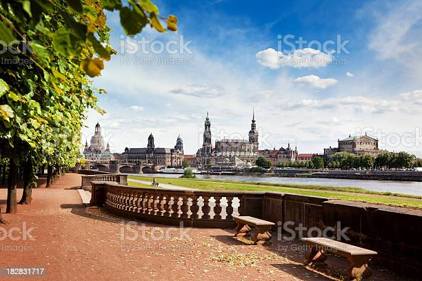 Panoramic Skyline of Dresden with River Elbe in the foreground and Frauenkirche, Hofkirche and Semper opera house. Need more: