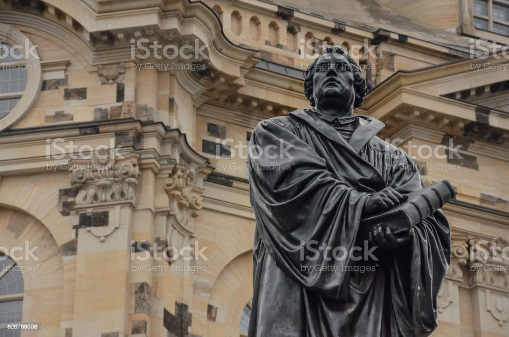 Dresden Statue Martin Luther vor Frauenkirche in Germany stock photo