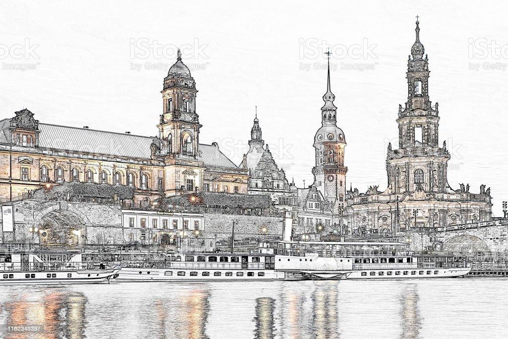 Dresden-Ansicht - Lizenzfrei Alt Stock-Foto
