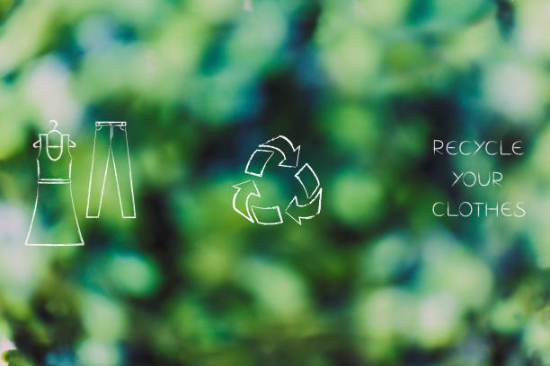 dress and pants icons with recycle logo stock photo