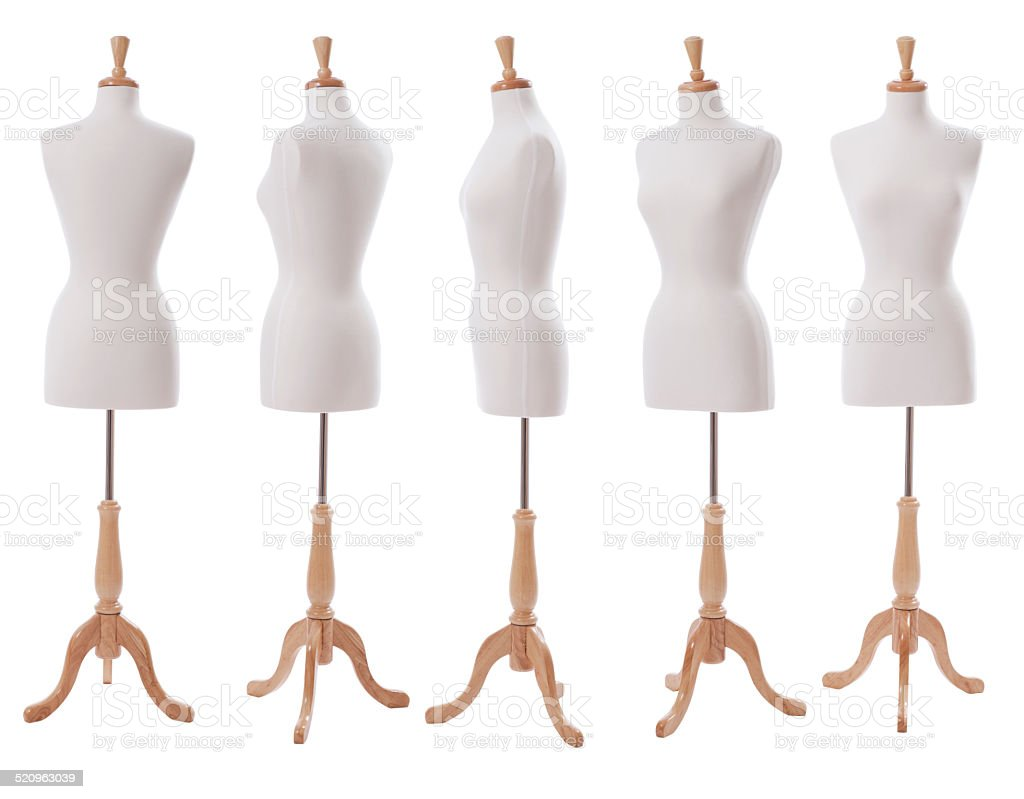 Dress form at various angles isolated on white stock photo