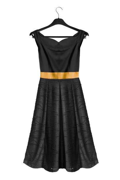 Dress on clothes rack Elegant flared black off the shoulders dress on black clothes rack isolated over white coathanger stock pictures, royalty-free photos & images
