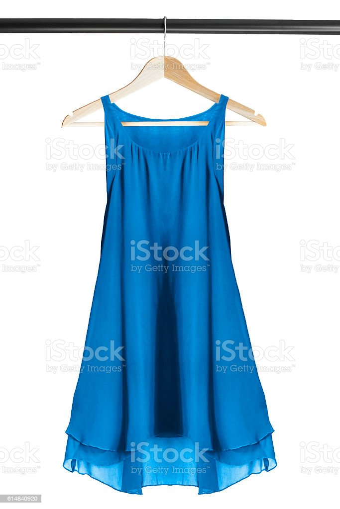 Dress on clothes rack stock photo