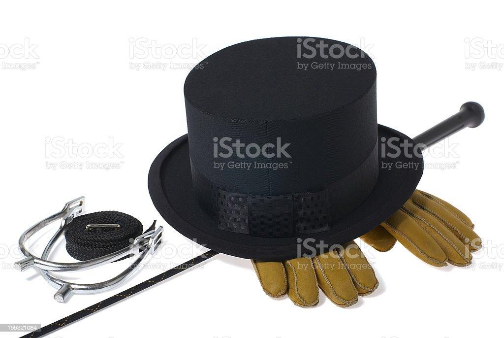 Dressage equipment isolated on white background stock photo