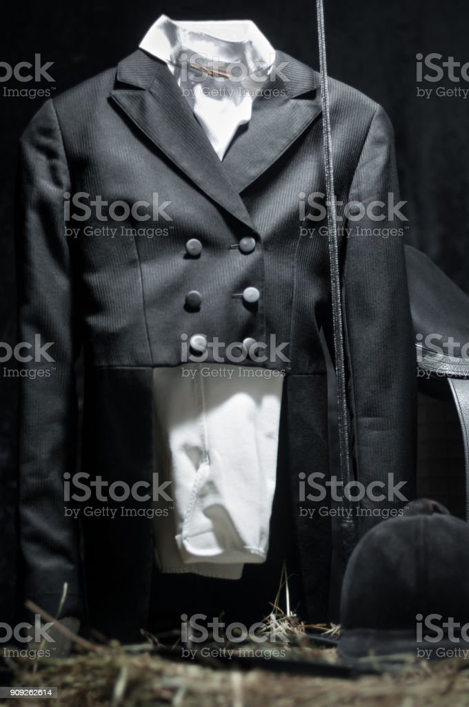 Dressage horse show competition jacket stock photo