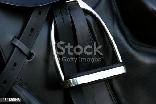 Detail of a brand new leather dressage sadle.