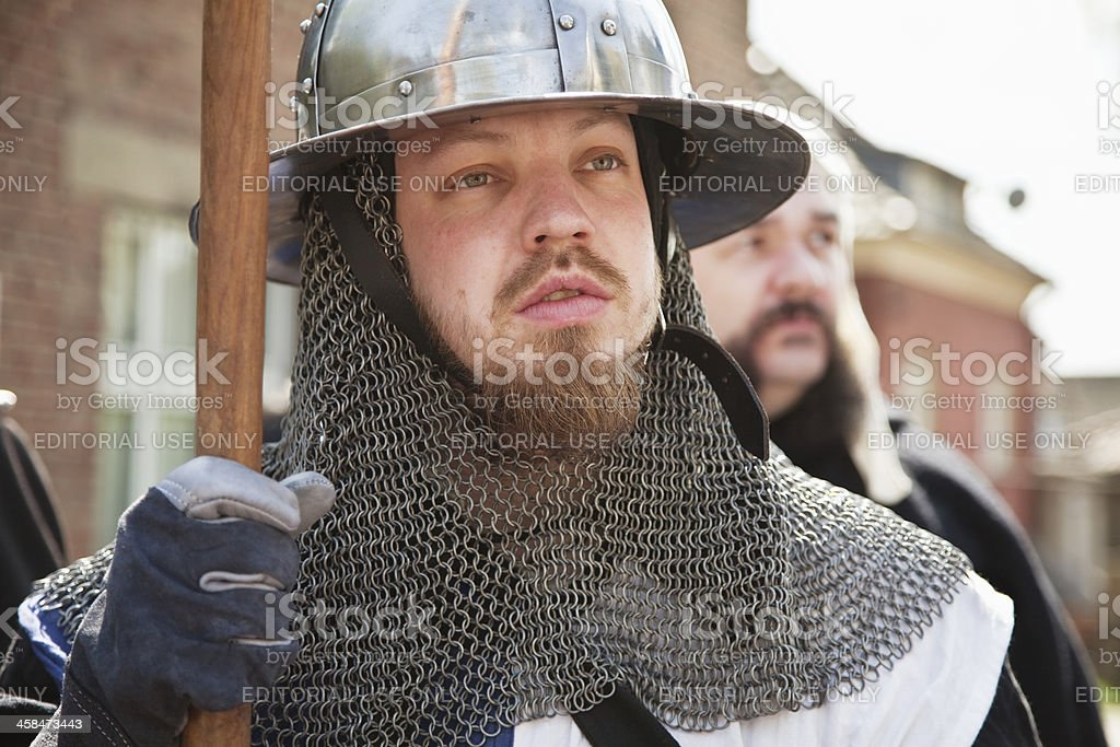 dressed as a knight at parade of markmen's club royalty-free stock photo