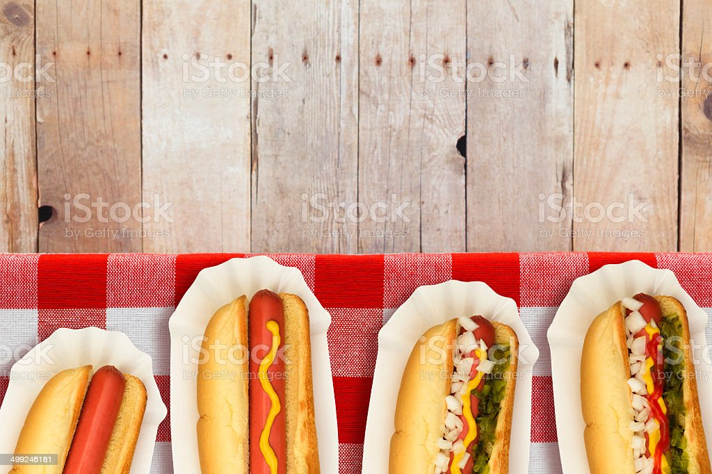 Dressed Hotdogs stock photo