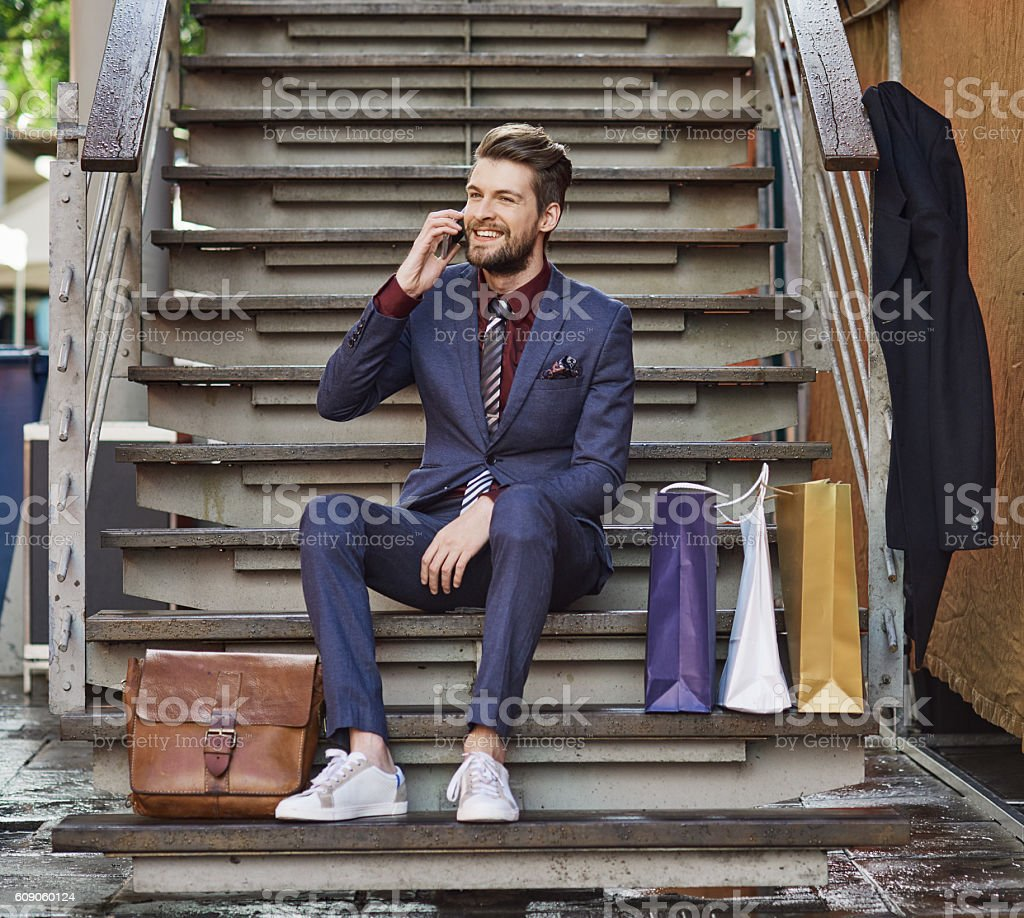 Dressed in his best for a day of retail therapy stock photo