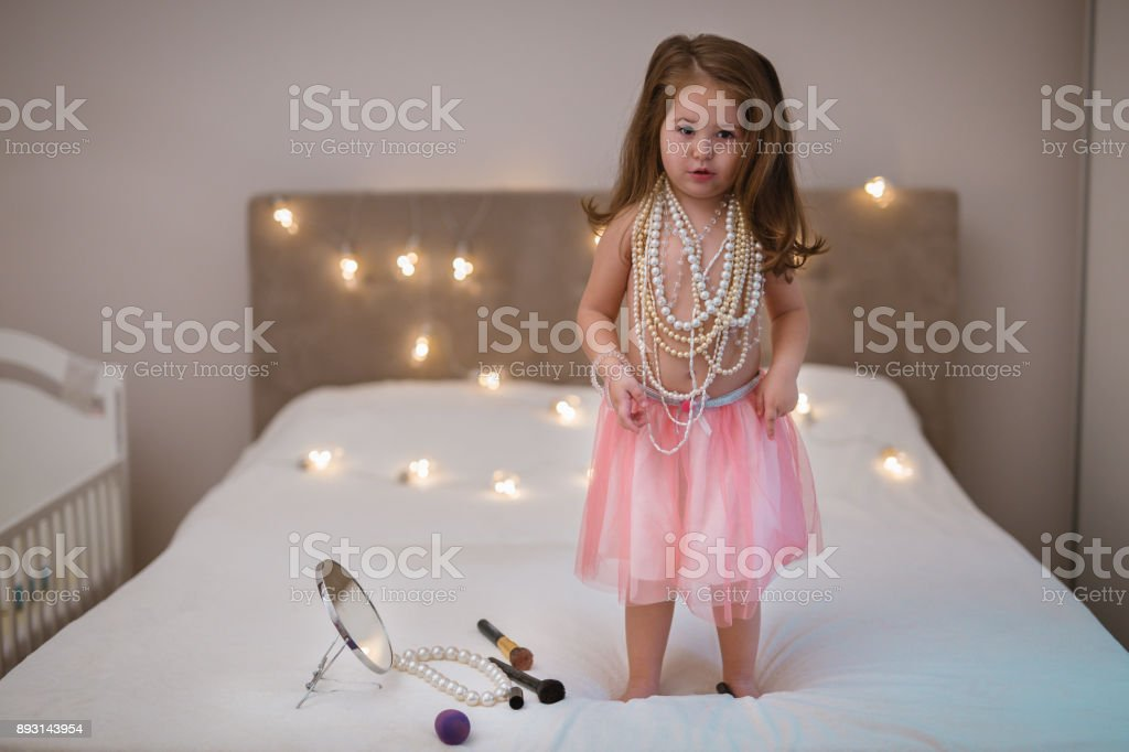 Dressed up for beauty contest stock photo