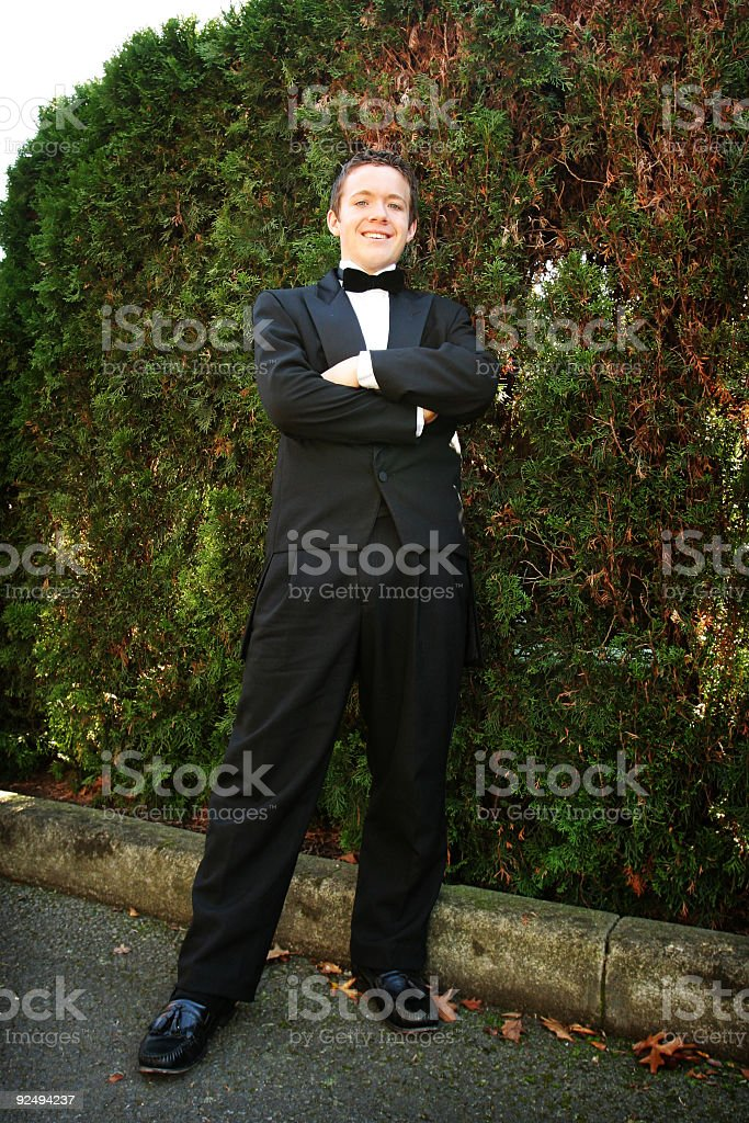 Dressed Up Male Standing by Bushes royalty-free stock photo