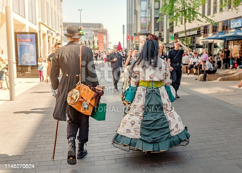 Leipzig, Germany - May 21, 2018: Dressed up people take part in the annual Gothic and Steampunk Festival in Leipzig