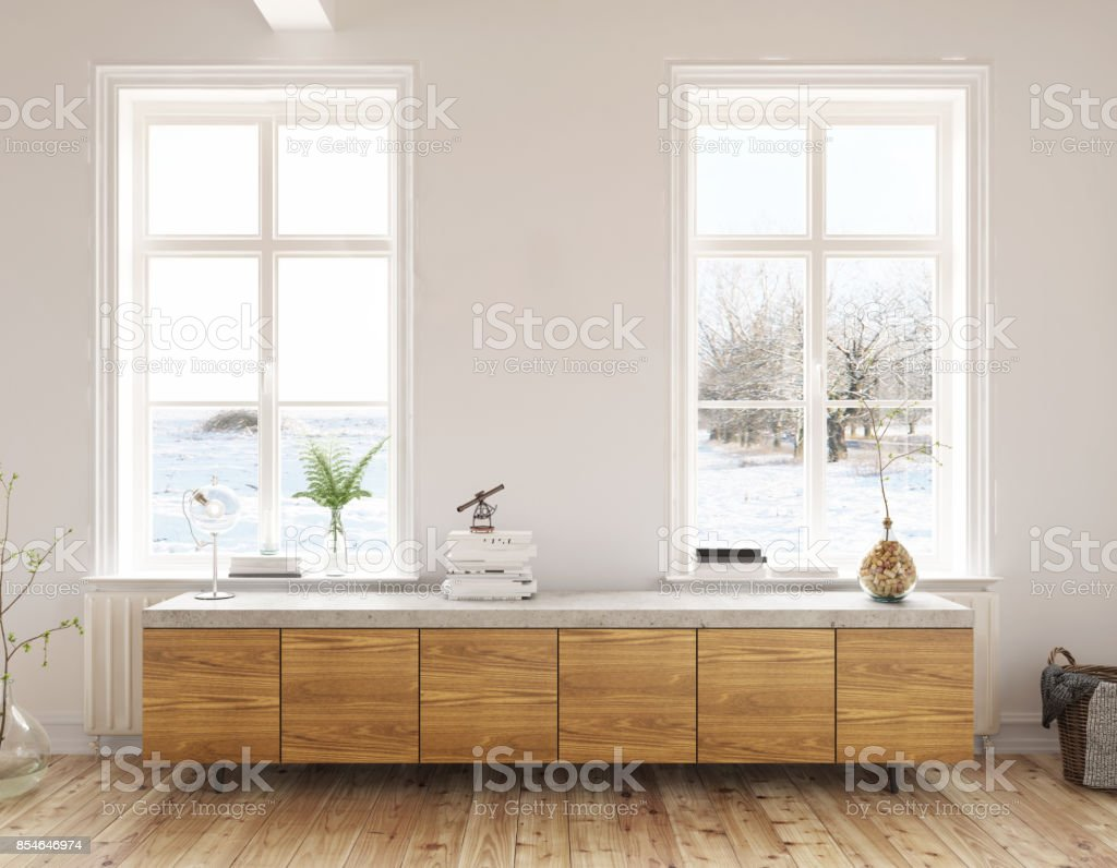 Dresser in the living room with beautiful view vector art illustration