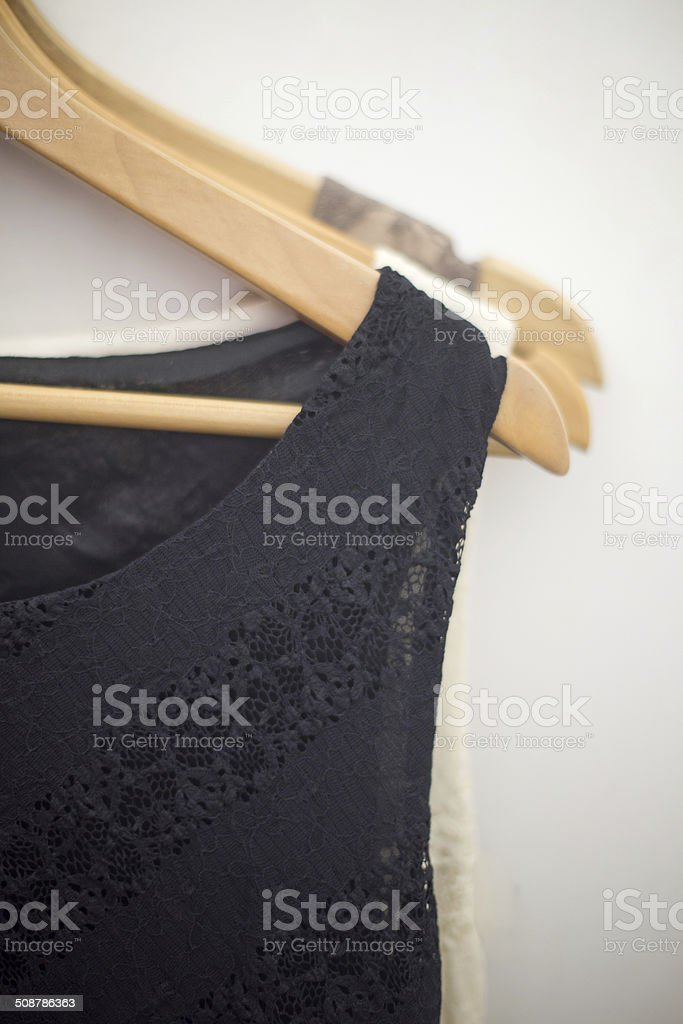 Dresses in the store stock photo