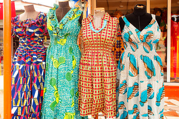 dresses of ghana west africa - kente cloth stock photos and pictures