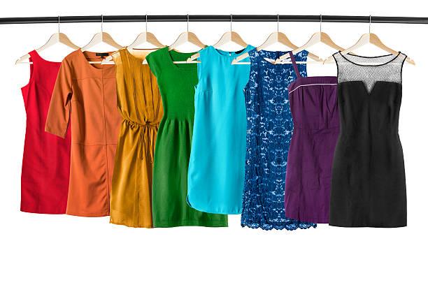 Dresses on clothes racks - foto de stock