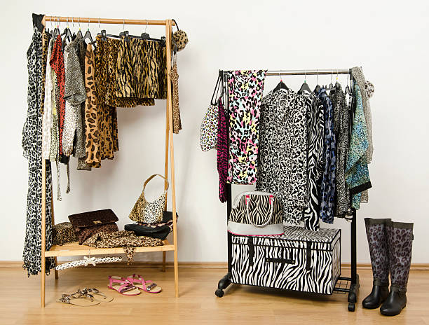 Dressing closet with animal print clothes arranged on hangers. stock photo