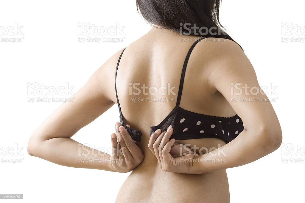 Dressing or Undressing designer bra royalty-free stock photo