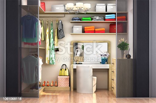 dressing room for a woman. Wardrobe. 3d illustration