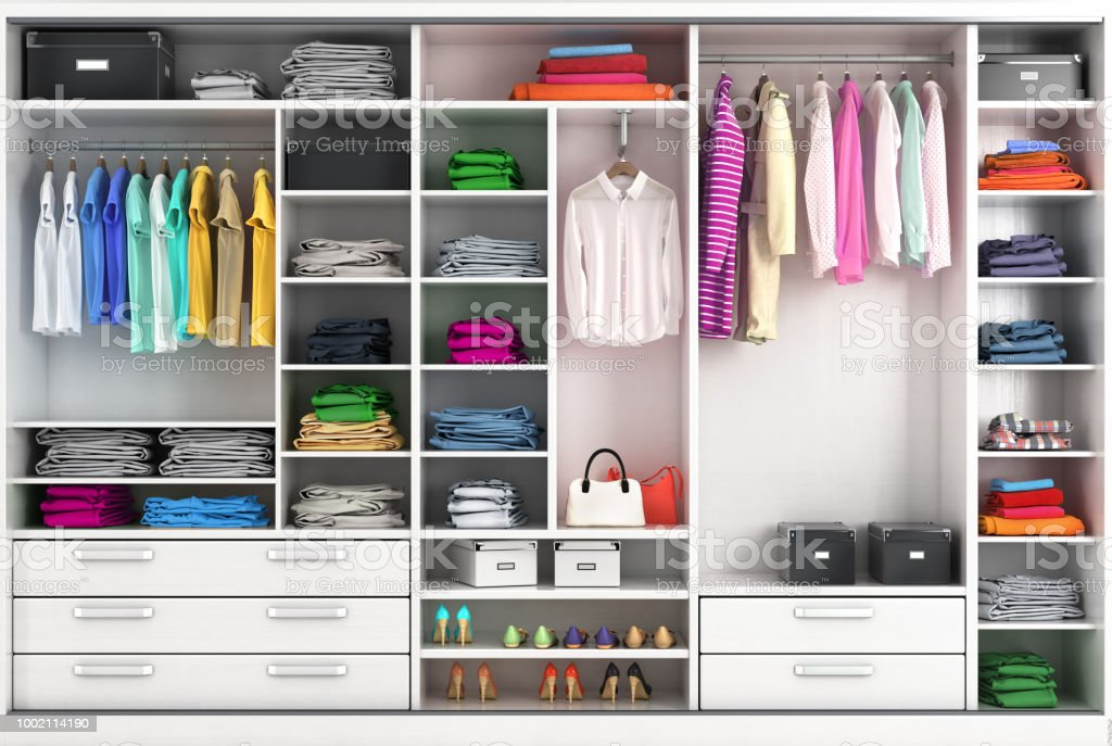 Dressing room in bright colors. Closet compartment. 3d illustration stock photo