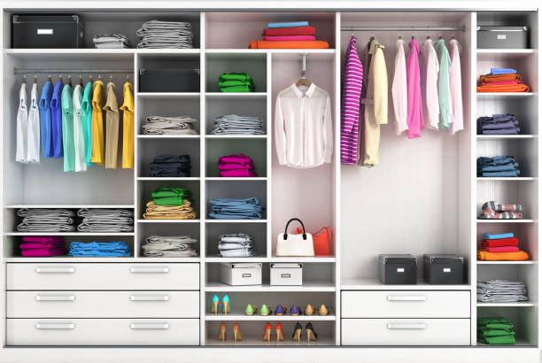 Dressing room in bright colors. Closet compartment. 3d illustration Dressing room in bright colors. Closet compartment. 3d illustration arrangement stock pictures, royalty-free photos & images