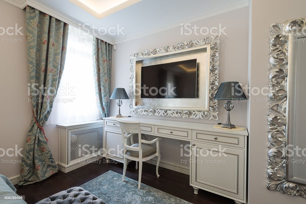 Dressing table in bedroom interior stock photo