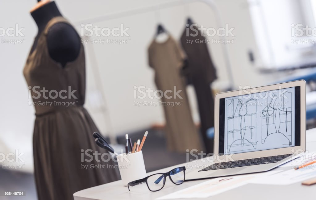 Dressmaker's work place stock photo
