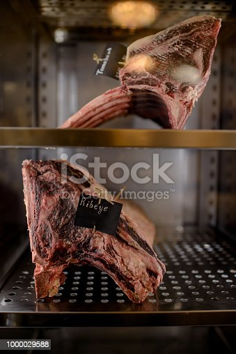 istock Dried aged pieces of meat in fridge 1000029588