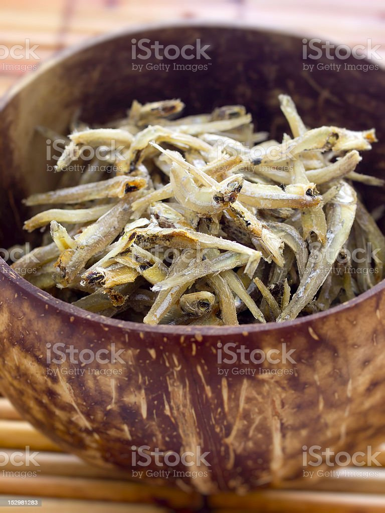 dried anchovies stock photo