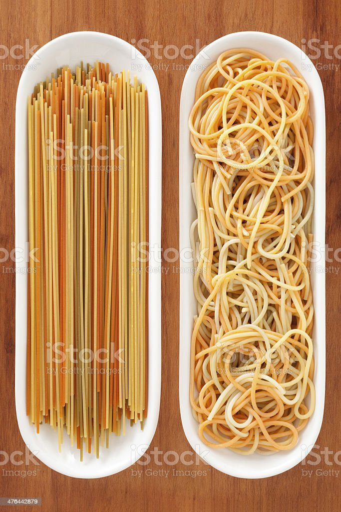 Dried and boiled multicolored spaghetti royalty-free stock photo