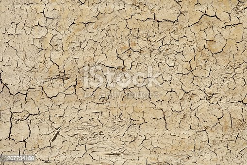 Dried and cracked adobe wall