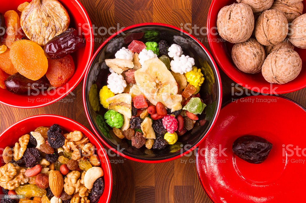 dried and fresh fruits stock photo
