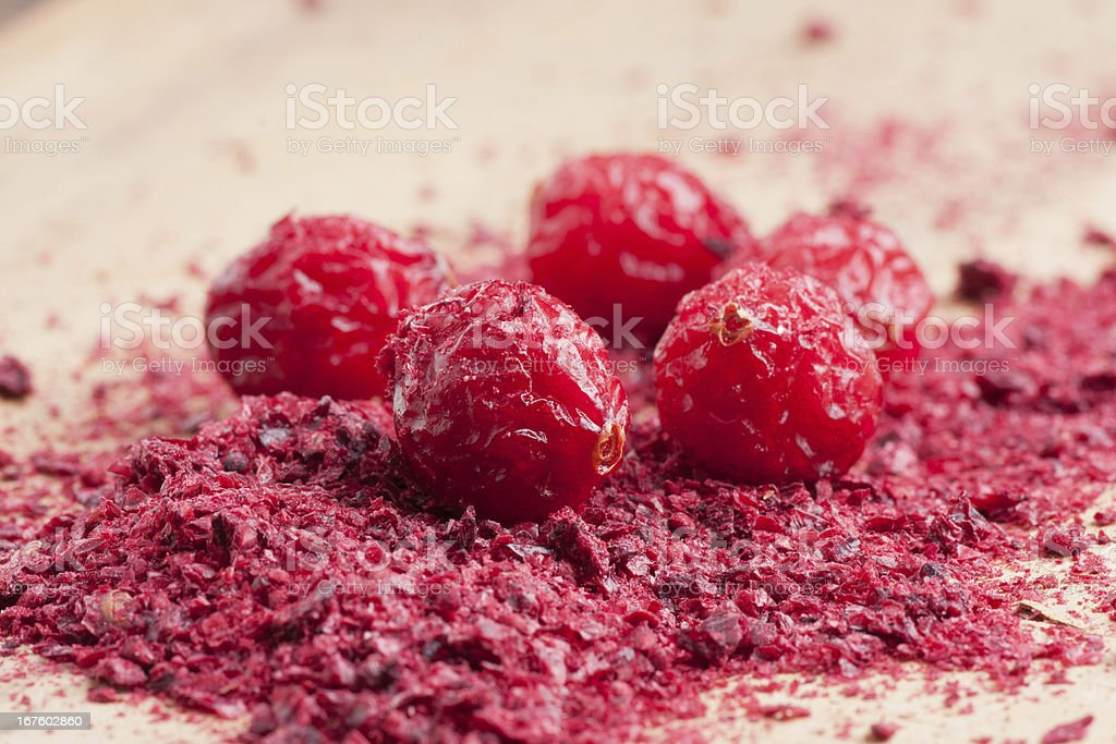 Dried and ground cranberries royalty-free stock photo