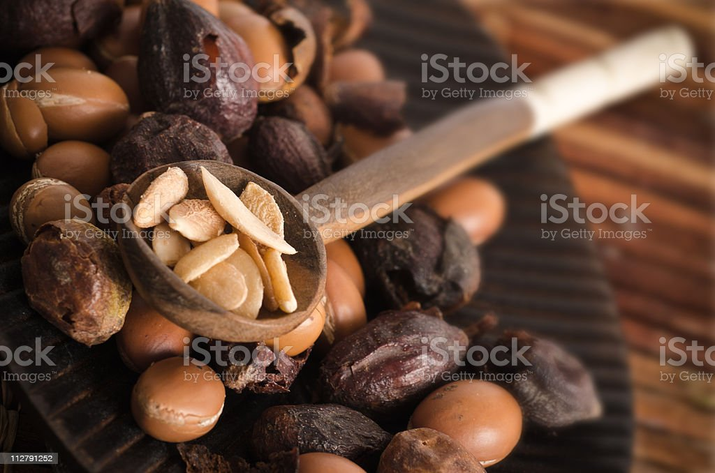 Dried and preserved Argan fruits stock photo