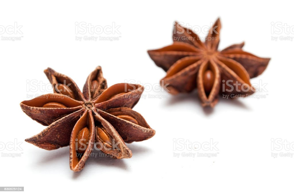 Dried anise on white background stock photo