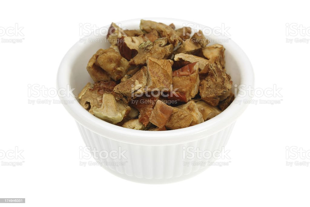 Dried apple in a small bowl royalty-free stock photo