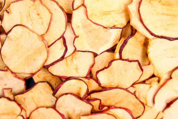 Dried Apple slices close up stock photo