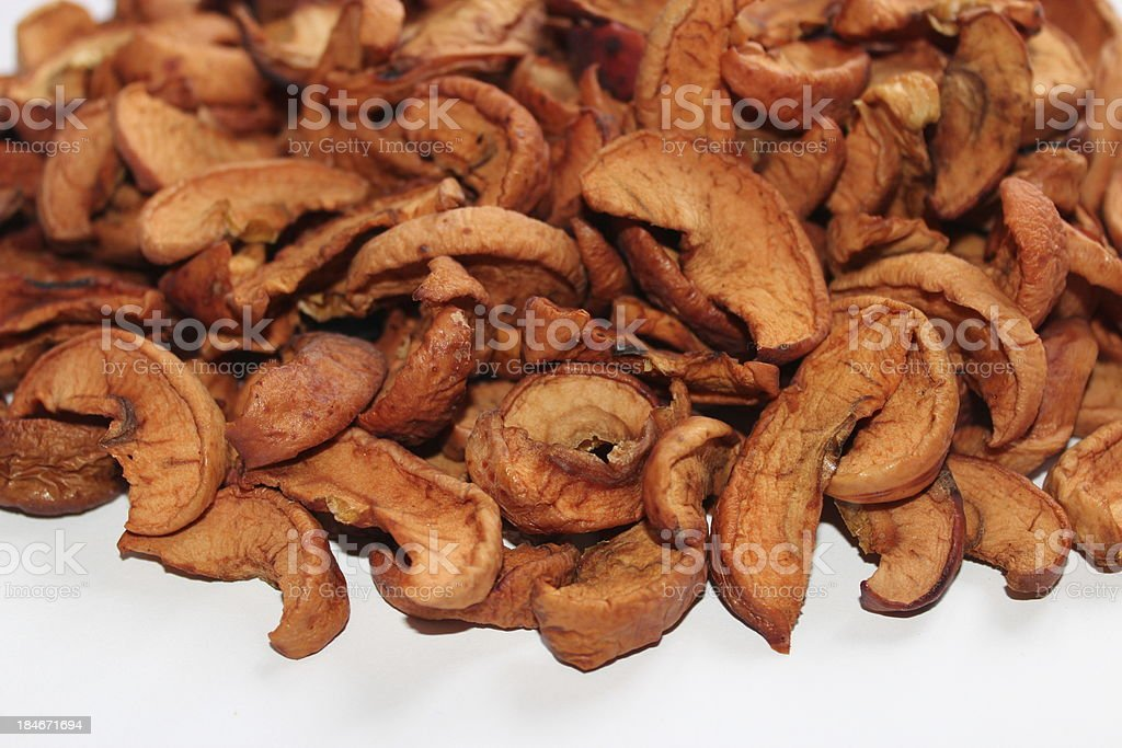dried apples on the white background stock photo