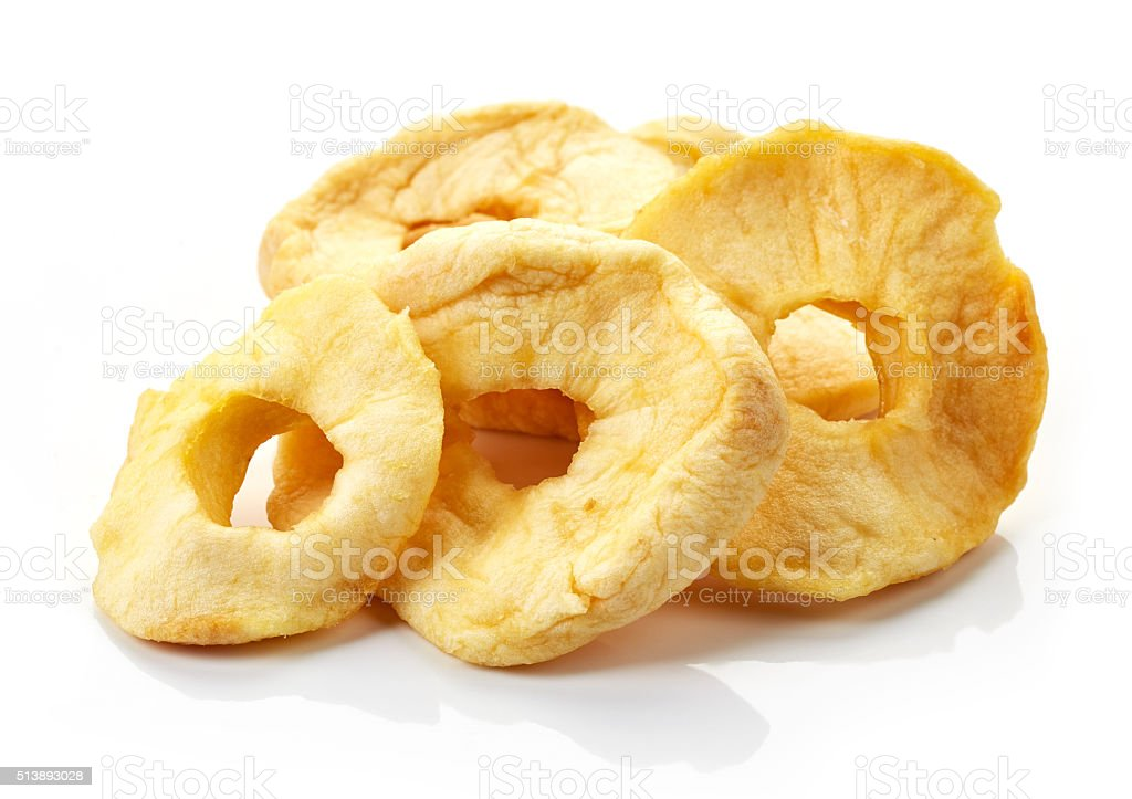 dried apples on white background stock photo