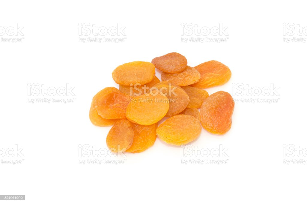 Dried apricot fruits on a white background stock photo