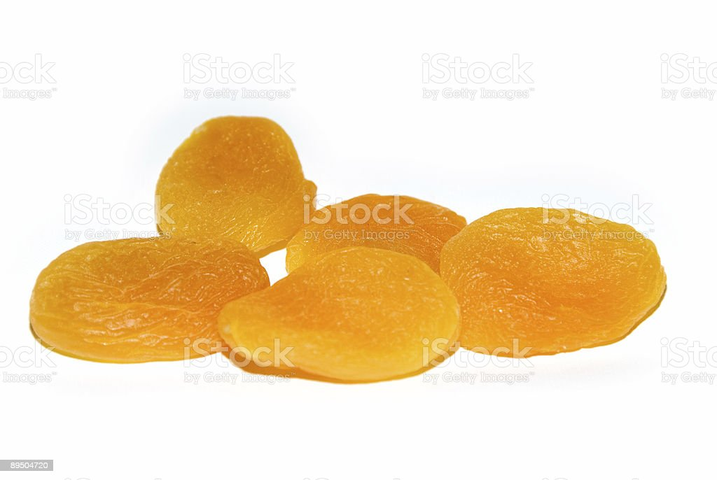 Abricots sur blanc séché photo libre de droits
