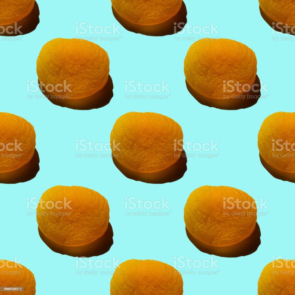 Dried apricots seamless pattern. stock photo