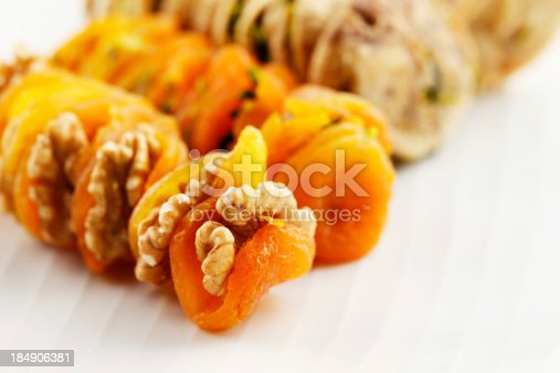 Dried Apricots stuffed with walnuts and dried figs stuffed with sliced pistachios are a popular delicacy in the Middle East particularly Saudi Arabia