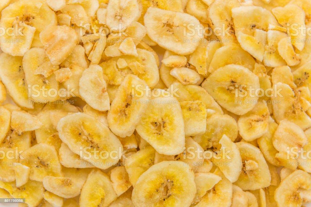Dried Banana Chips close-up shot, selective focus stock photo