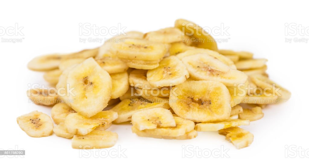 Dried Banana Chips isolated on white background stock photo