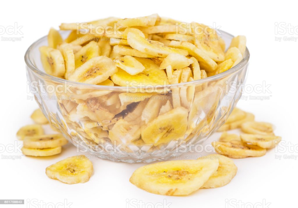 Dried Banana Chips isolated on white stock photo