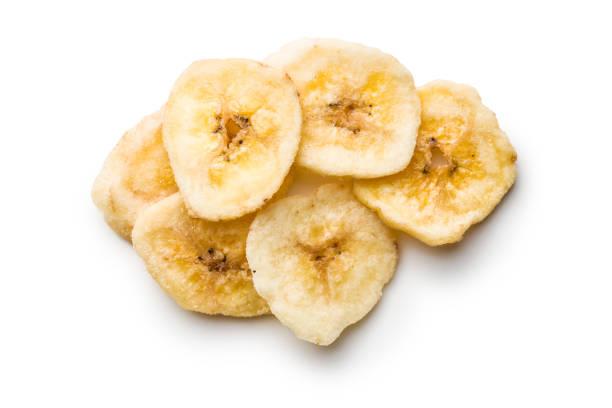 getrocknete bananenchips - gebackene banane stock-fotos und bilder