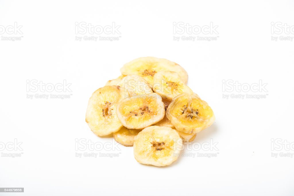 dried banana chips stock photo