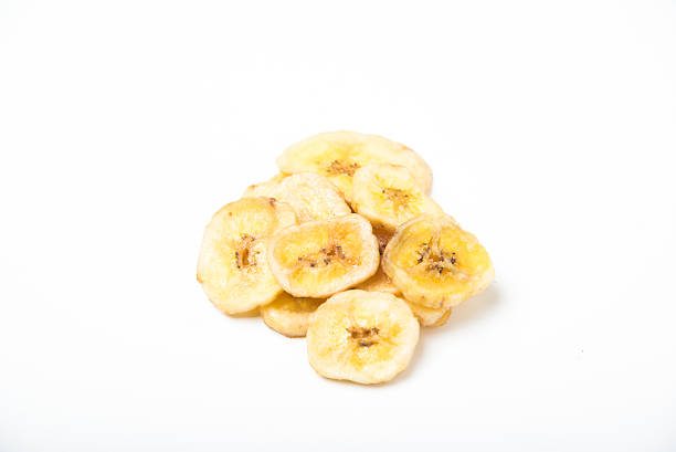 dried banana chips stock photo